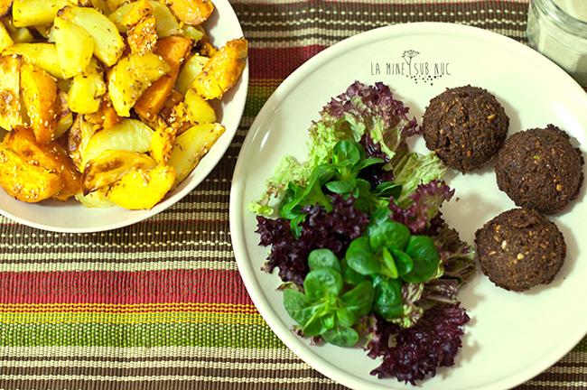 falafel cartofi cu susan vegan