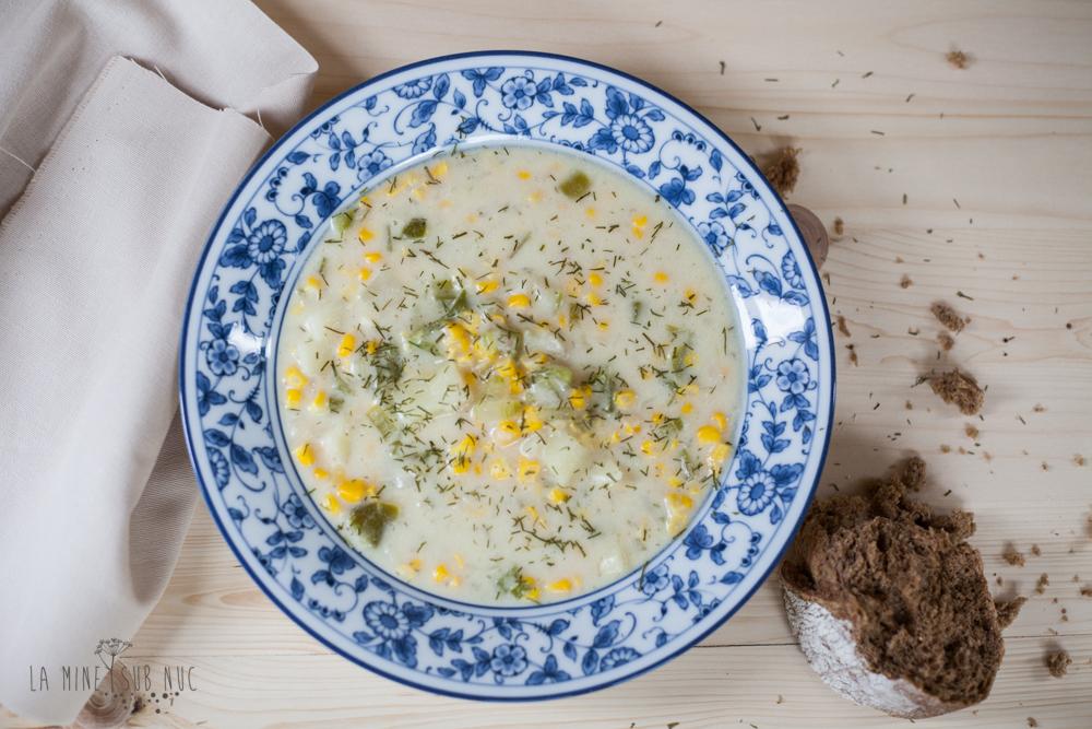 vegan corn chowder supa de porumb
